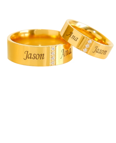 Pair of Stainless Steel Gold Plated Band with Cubic Zirconia