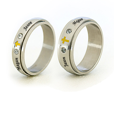 Pair of Stainless Steel Spinner Ring with Cubic Zirconia Stones & Cross