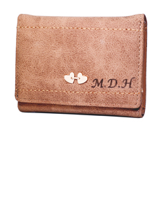 Personalized Heart  Leather Wallet