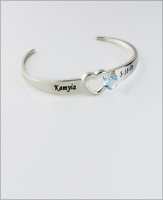 Personalized Birthstone Bangle with Heart Stone