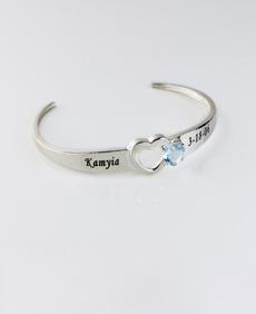 Personalized Birthstone Bangle with Heart