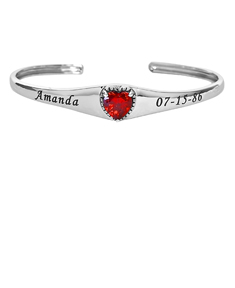 Heart Birthstone Bangle