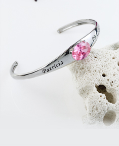 Personalized Birthstone Bangle with Oval Stone
