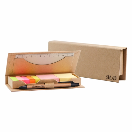Personalized Box w/ Sticky Notes and Flags