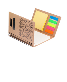 Personalized notebook with calculator, sticky notes, and flags
