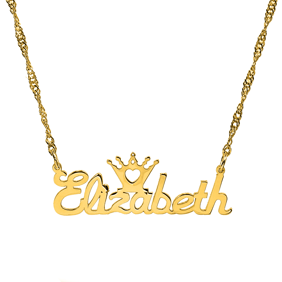 gold english custom chain pendants old necklaces plate name nameplate chains