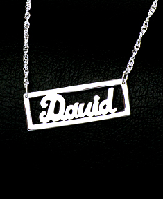 Personalized Cut Out Nameplate Bar Necklace