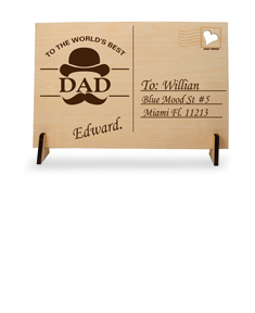 "Personalized ""Father's Day"" Wooden Post Card"