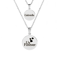Personalized Stainless Steel Round Necklace