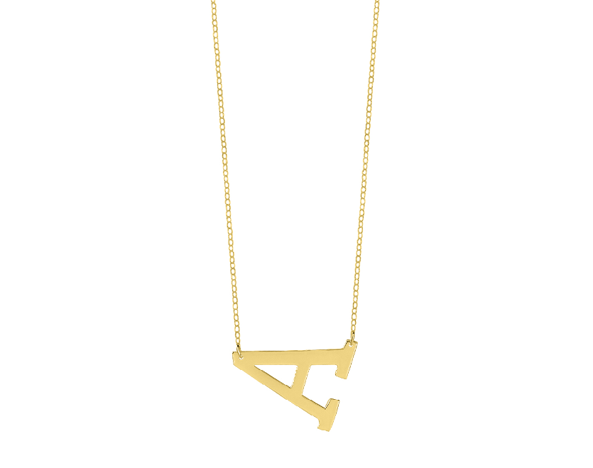 personalized horizontal initial necklace With horizontal letter necklace