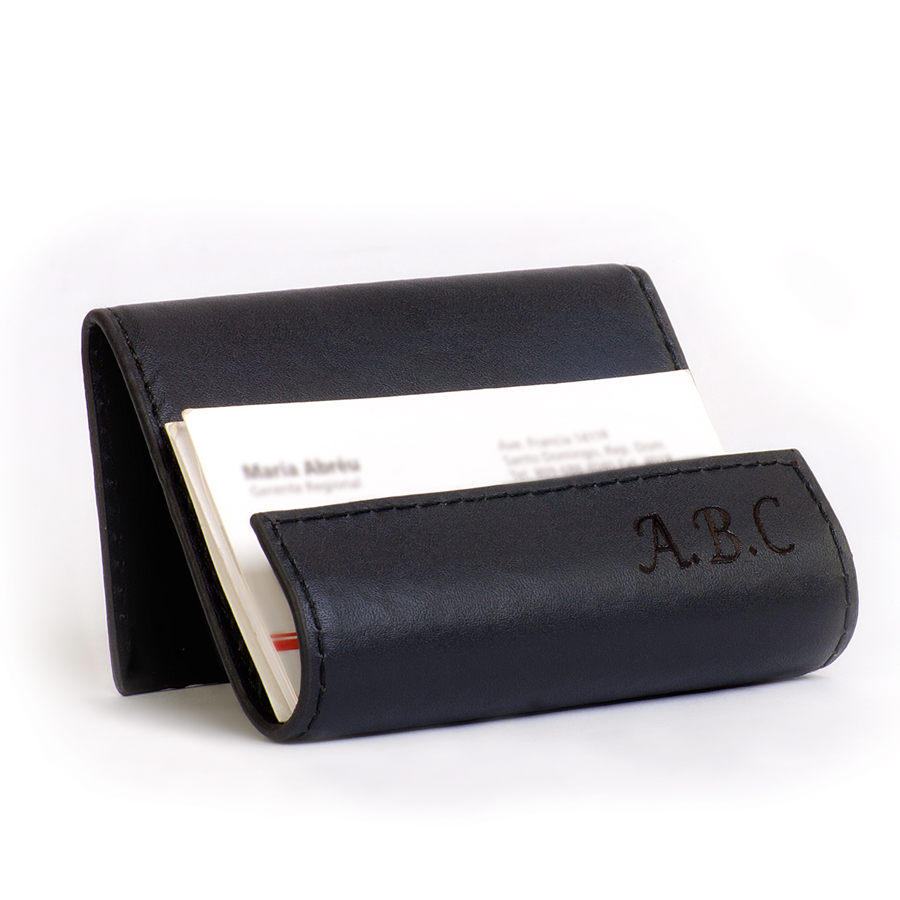 Personalized leather card holder for Monogrammed leather business card holder