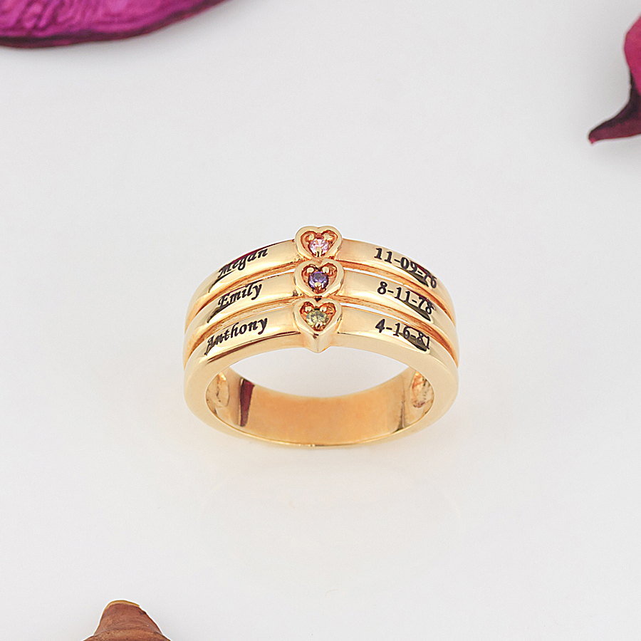 personalized mother 39 s ring with stones engraving. Black Bedroom Furniture Sets. Home Design Ideas