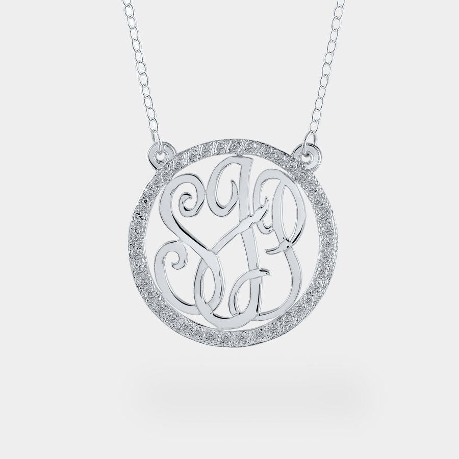 Monogram necklace with cubic zirconia personalized monogram necklace with cubic zirconia aloadofball Images