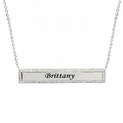 Personalized Square Zirconia Bar Necklace