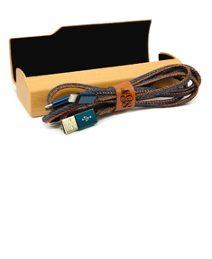 Personalized USB Cables for Android & IPhone w/ Wooden Storage Case