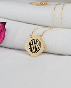 Gold Quatrefoil Engraved Monogram Pendant Necklace