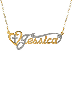 Rhodium Plated Jessica Nameplate