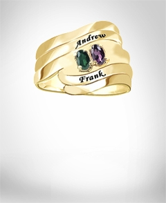 Ring with Two Oval Shaped Birthstones & Names