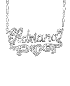 Script Carved Name Plate Adriana with Heart Shape
