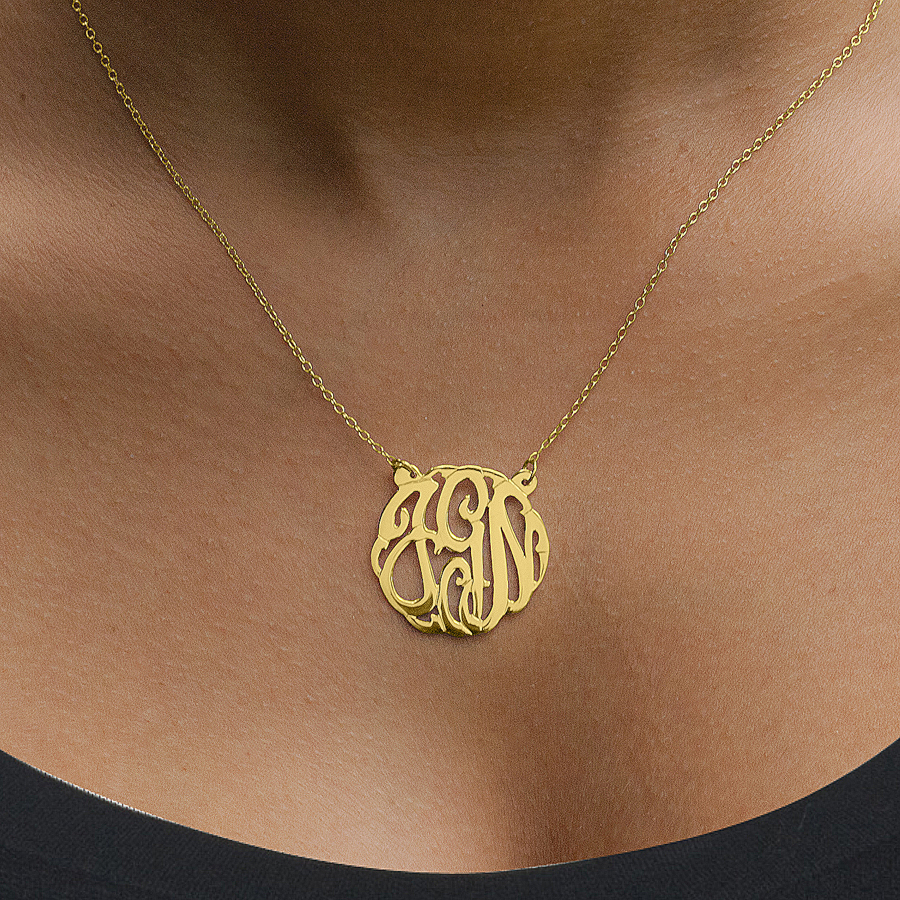 script monogram pendant with split chain