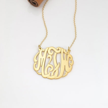 10K Gold Script Monogram Necklace