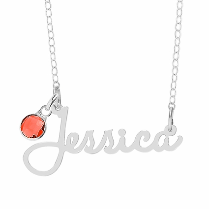 Name Necklace with Birthstone