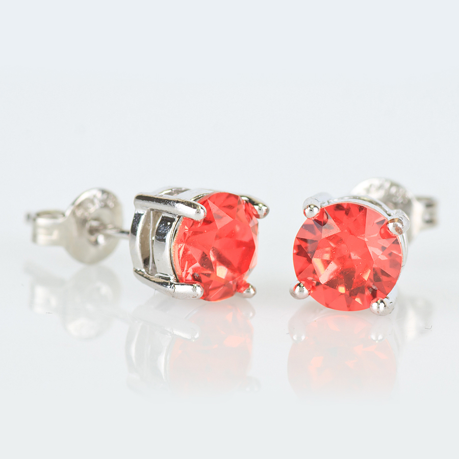 round earrings square er stud stainless new shop cz base setting colored steel clear color
