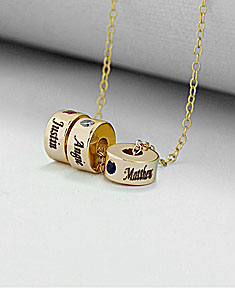 Stackable Engraved Birthstone Eternity Charm Necklace