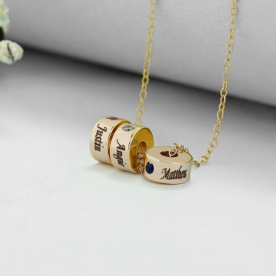 gold custom charm eternity birthstone stackable necklace