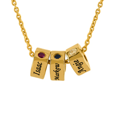 Stackable Engraved Necklace with Birthstone