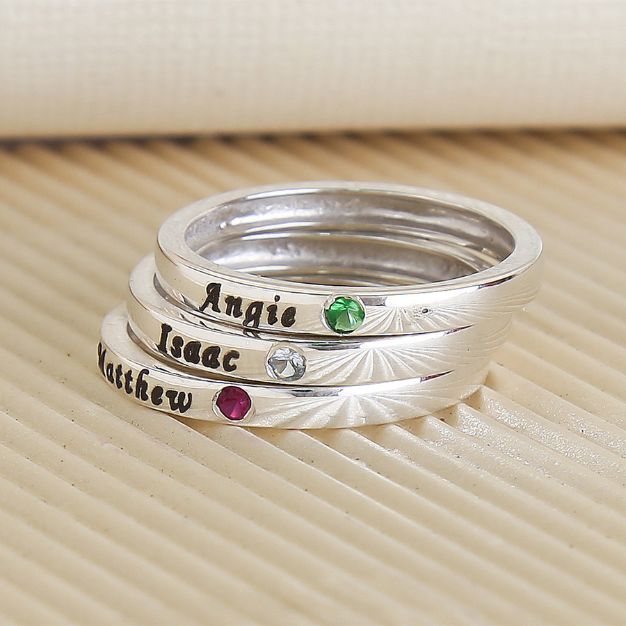 bracelets ring birthstone necklace custom engraved infinity name rings en birthsstone