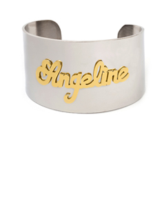 Stainless steel cuff bangle  with silver plating name .