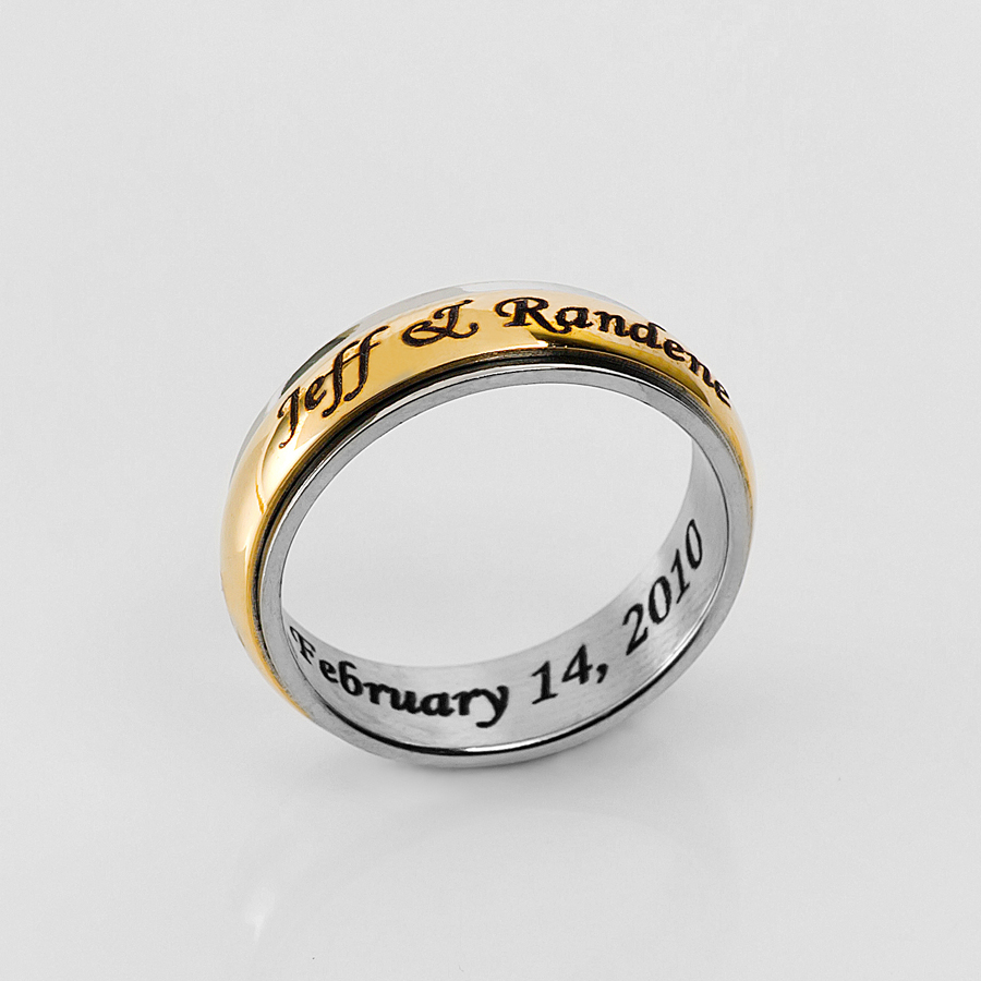 stainless steel gold tone spinner ring for him