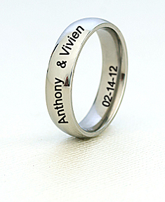 Stainless Steel Silver Tone Wedding Band for Him