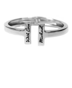 Stainless Steel 'T' Engraved Bangle
