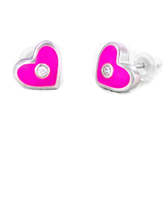 Pink Heart with Crystal Earrings