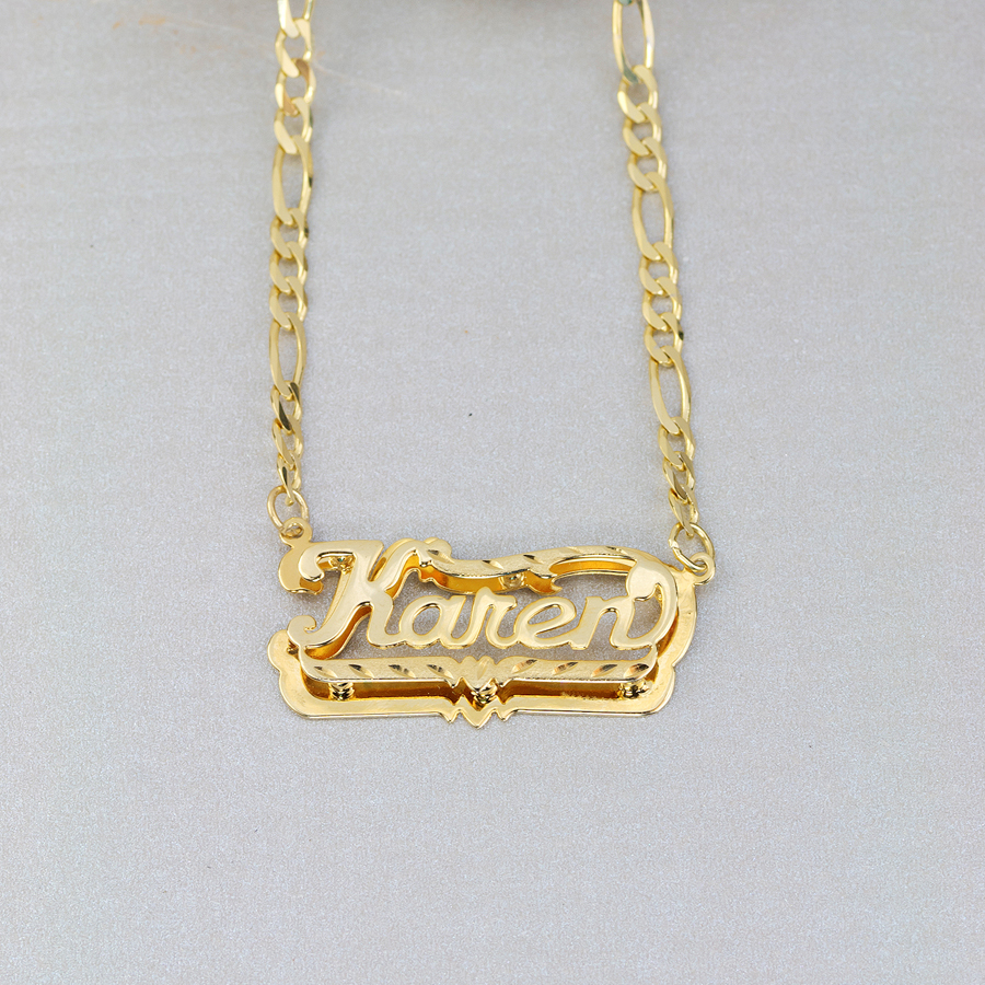 Double plate diamond cut name necklace karen aloadofball