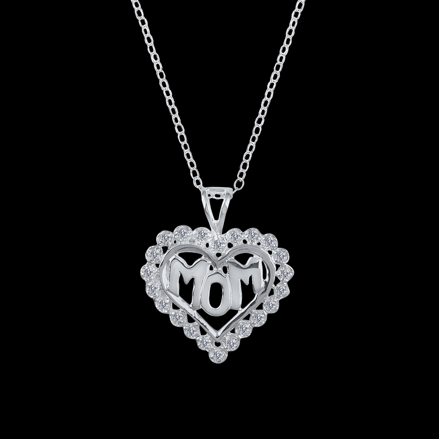 Sterling silver mom heart pendant necklace with 20 swarovski crystals aloadofball Images