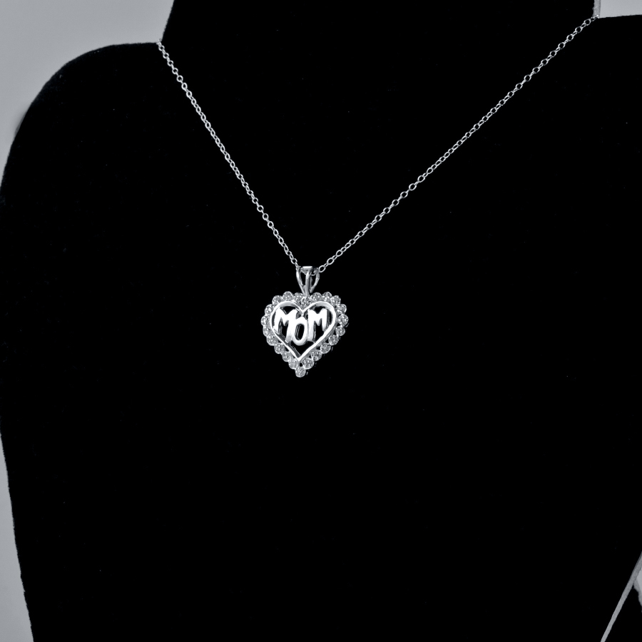 Sterling silver mom heart pendant necklace with 20 swarovski crystals mozeypictures Image collections