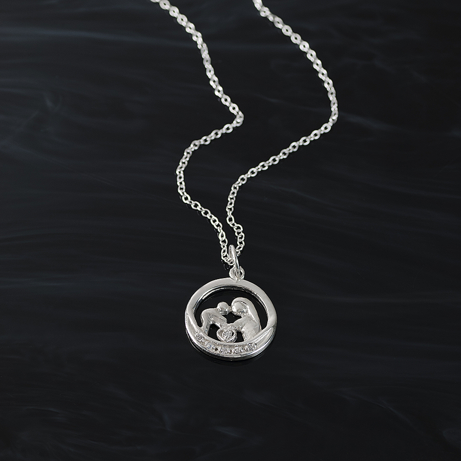 Sterling silver mother and child pendant necklace with 6 swarovski sterling silver mother and child pendant necklace with 6 swarovski crystals aloadofball Choice Image