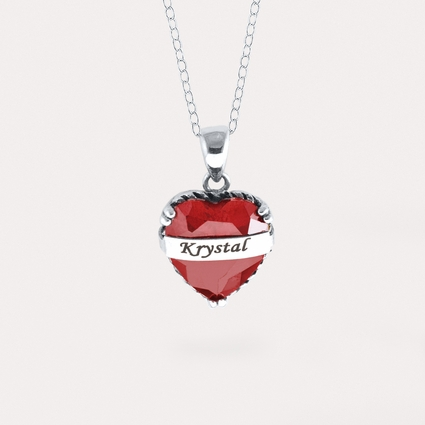 Birthstone Pendant with Heart Stone