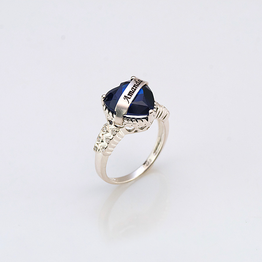 Personalized birthstone ring with heart stone aloadofball Gallery