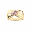 Ring with Two Round Shaped Birthstones & Names