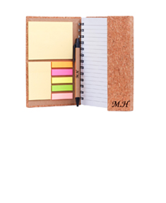 "Personalized ""Eco Friendly"" Cork Spiral Note Book w/ pen, sticky notes and flags"