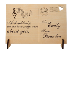 """""""The Love Songs"""" Wooden Postcard"""""""