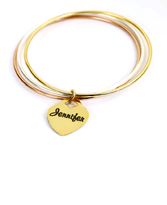 Three-Personalized Trio Color Bangle with Heart Charm