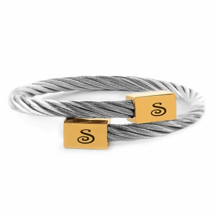 Twisted Cable Wire Square Cuff Bangle