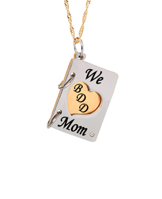 """We (Heart) Mom"" Book Pendant"