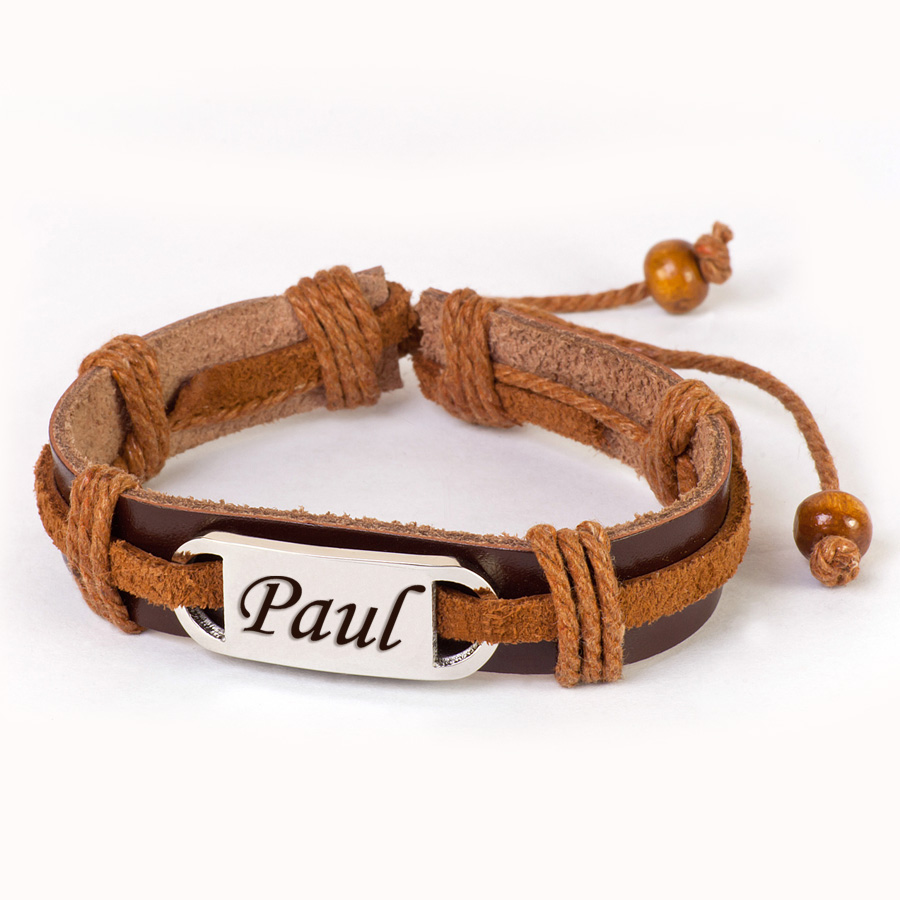wrought engraved leather bracelet
