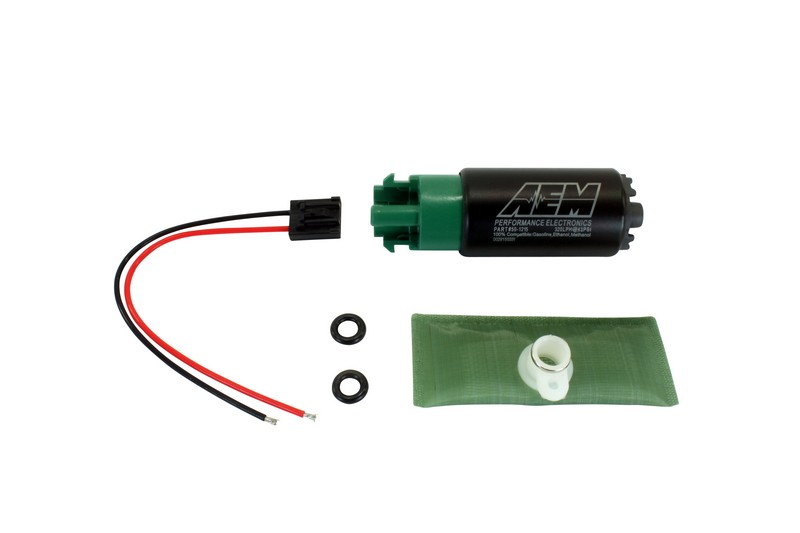 aem 320lph e85 compatible high flow in tank fuel pump 65mm short offset inlet with hooks. Black Bedroom Furniture Sets. Home Design Ideas